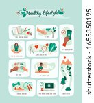 healthy lifestyle and self care ... | Shutterstock .eps vector #1655350195