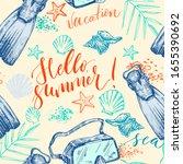 seamless hand drawn summer... | Shutterstock .eps vector #1655390692