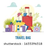 travel bag with many items... | Shutterstock .eps vector #1655396518