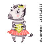 watercolor nursery cute baby... | Shutterstock . vector #1655418535