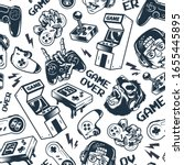 vintage gaming seamless pattern ... | Shutterstock . vector #1655445895