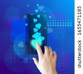 hand taps heart on a smartphone ... | Shutterstock .eps vector #1655471185