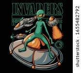 alien invasion illustration....