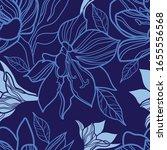 vector seamless blue and white... | Shutterstock .eps vector #1655556568