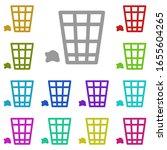 rubbish bin multi color icon....