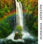 fantastic waterfall with a... | Shutterstock . vector #165561596