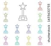 award cinema multi color icon....