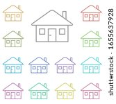 home  building multi color icon....