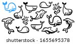 cute cartoon set of whales and... | Shutterstock .eps vector #1655695378