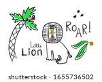 cute hand drawn king lion near... | Shutterstock .eps vector #1655736502
