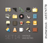 flat icons set 14   vintage...