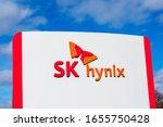 Small photo of SK hynix logo, butterfly mascot at SK hynix America headquarters of South Korean memory semiconductor supplier - San Jose, California, USA - 2020