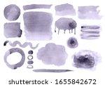 set of grey watercolor splots ...   Shutterstock . vector #1655842672