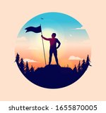Man holding flagpole with waving flag on hilltop, looking at the freedom of nature. Forest, clouds and sky. Retro warm colours, winner, accomplishment and success concept. Circular vector illustration