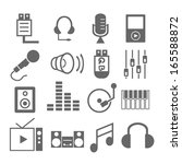 media player icons with white... | Shutterstock .eps vector #165588872