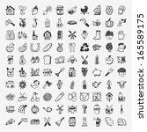 doodle farming icon set   Shutterstock .eps vector #165589175