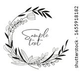 hand drawn frame with leaves... | Shutterstock .eps vector #1655918182