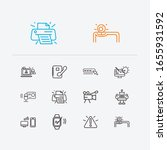 electronics icons set. printer...