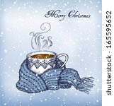 cup of tea swathed in scarf....   Shutterstock .eps vector #165595652