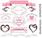 vector set of valentine's day... | Shutterstock .eps vector #165604298