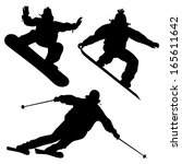 collection. snowboarders and a... | Shutterstock .eps vector #165611642