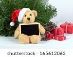 Teddy Bear With Santa Hat And...