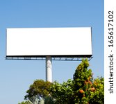 blank billboard against blue...   Shutterstock . vector #165617102