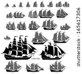 Vector ships set with separate editable elements. ALL TYPES of sailing ships.