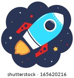 cute cartoon colorful rocket in ... | Shutterstock .eps vector #165620216