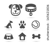 Cute Dog Icons Set Isolated On...