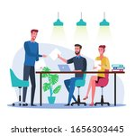 office workers at workplace in...   Shutterstock .eps vector #1656303445