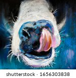 Pastel Portrait Painting Of Cow....