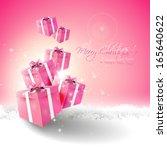 modern pink christmas greeting... | Shutterstock .eps vector #165640622