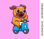Cute Pug Riding Scooter Vector...