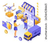 isometric online shopping ...   Shutterstock .eps vector #1656428665