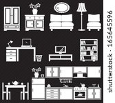 furniture icons set | Shutterstock .eps vector #165645596