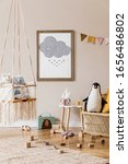 Small photo of Stylish scandinavian interior of kid room with mock up poster frame, design furnitures, natural toys, hanging colorful flags, plush animals, child accessories and teddy bears. Modern home decor.