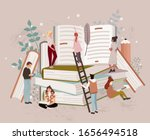people or students reading... | Shutterstock .eps vector #1656494518