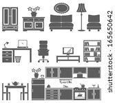 furniture icon set | Shutterstock .eps vector #165650642