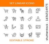shopping cart vector line icons ... | Shutterstock .eps vector #1656514975