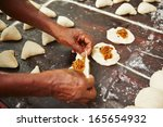 traditional preparation of food ... | Shutterstock . vector #165654932
