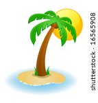 Vector illustration of a palm tree on a small island - stock vector