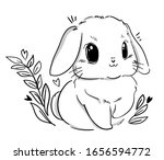 Sketch Cute Rabbit And Heart....