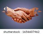 low poly hands  handshaking...   Shutterstock .eps vector #1656607462