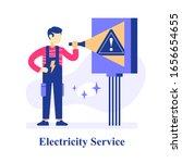 electrician holding flashlight  ... | Shutterstock .eps vector #1656654655