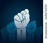 fist hand show unity concept... | Shutterstock .eps vector #165674255