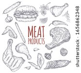 meat products template pattern... | Shutterstock .eps vector #1656862348