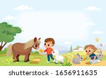 kids feed the animals in the... | Shutterstock .eps vector #1656911635