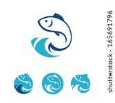 Four blue round signs with fish in vector - stock vector