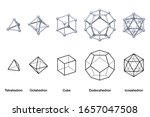 gray colored platonic solids 3d ... | Shutterstock .eps vector #1657047508